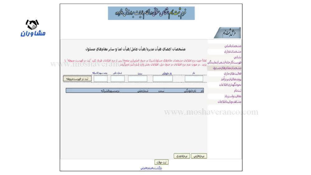 نمونه فرم مشخصات مقامهای مسئول (اشخاص حقوقی)